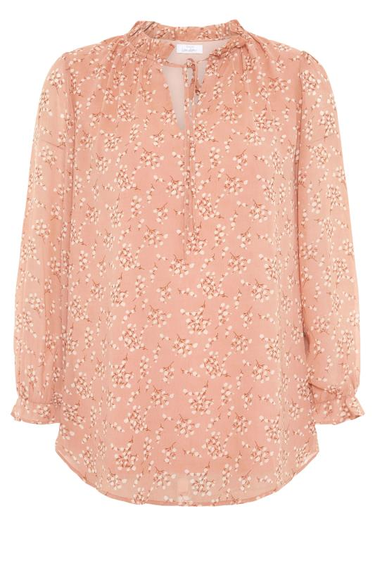 YOURS LONDON Pink Floral Ruffle Collar Blouse_F.jpg