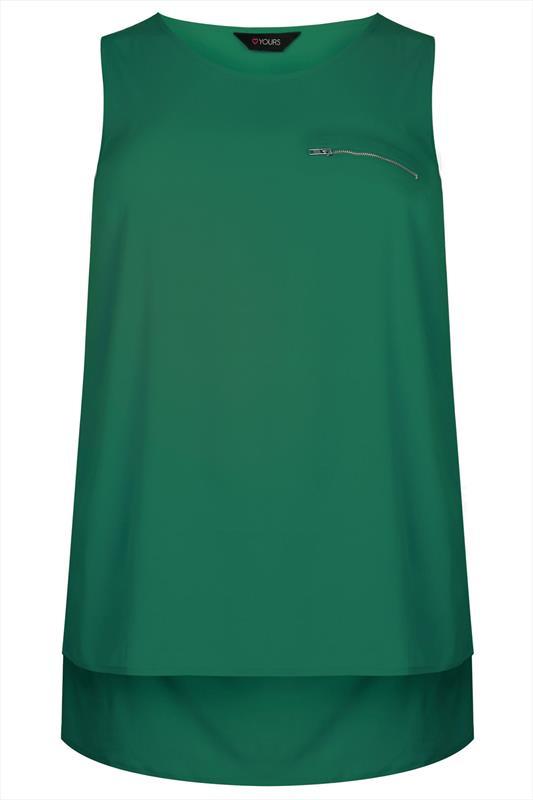 Green Sleeveless Dipped Hem Top With Zip Pocket Detail