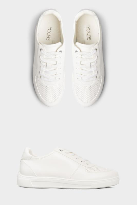 White Vegan Leather Lace Up Trainers In Extra Wide Fit