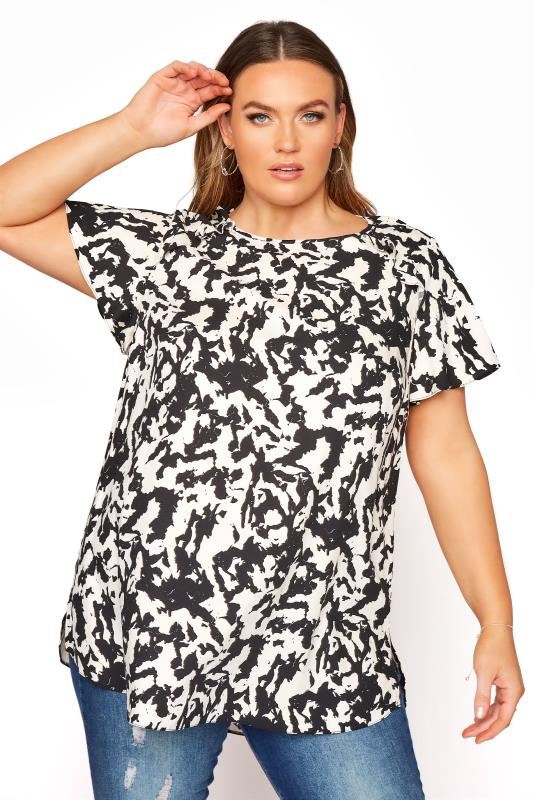 Black & White Abstract Print Frill Shoulder Blouse