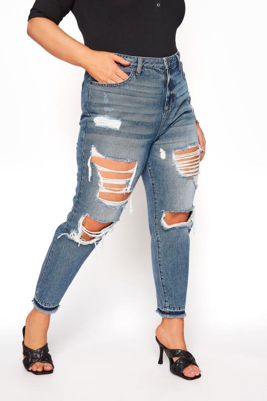 dla puszystych Mid Blue Extreme Distressed MOM Jeans