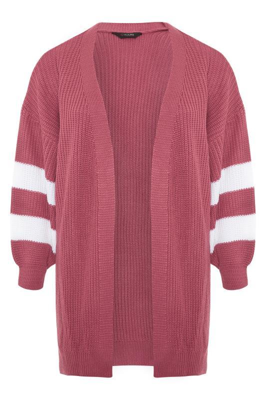 Pink Varsity Stripes Knitted Cardigan_F.jpg
