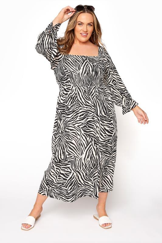 YOURS LONDON Black Zebra Print Shirred Front Midaxi Dress_A.jpg