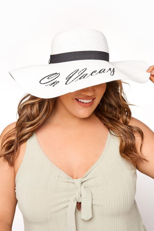 """Plus Size  White Straw """"On Vacay"""" Wide Brim Hat"""
