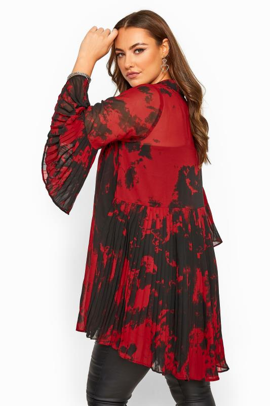 Red Tie Dye Pleated Longline Shirt