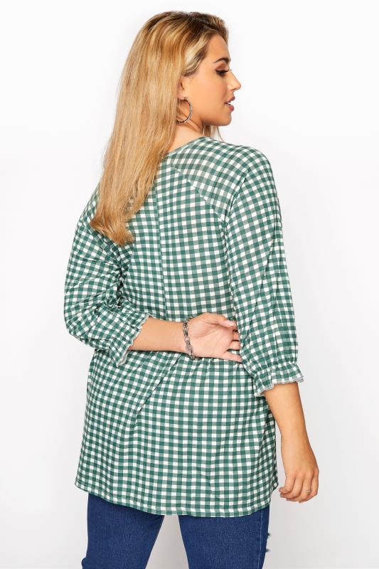 LIMITED COLLECTION Green & White Gingham Smock Top_C.jpg