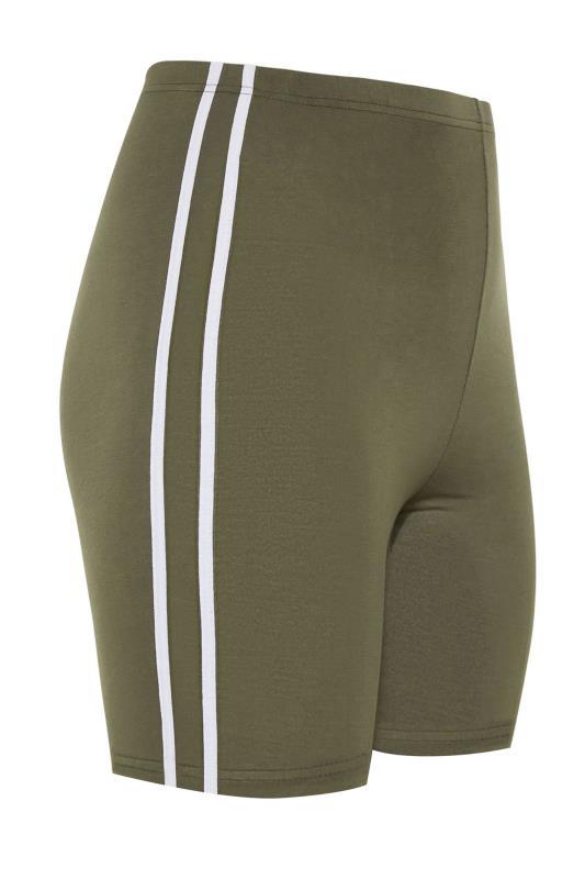 Khaki Side Stripe Cycle Shorts_F.jpg