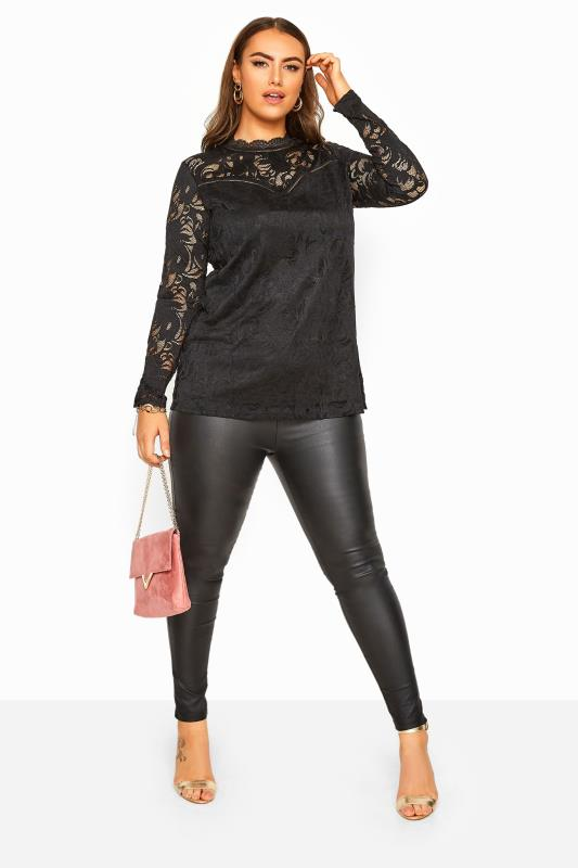 YOURS LONDON Black Lace High Neck Top