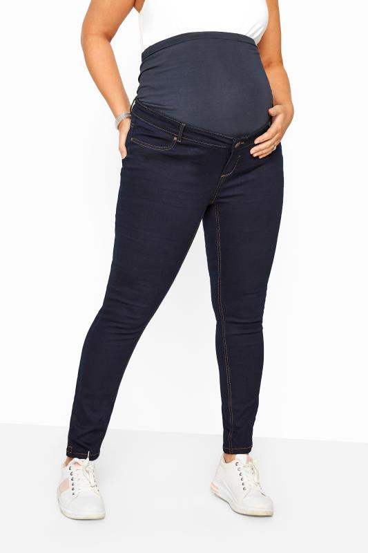 Maternity Jeans & Jeggings dla puszystych BUMP IT UP MATERNITY Indigo Blue Skinny Jeans With Comfort Panel