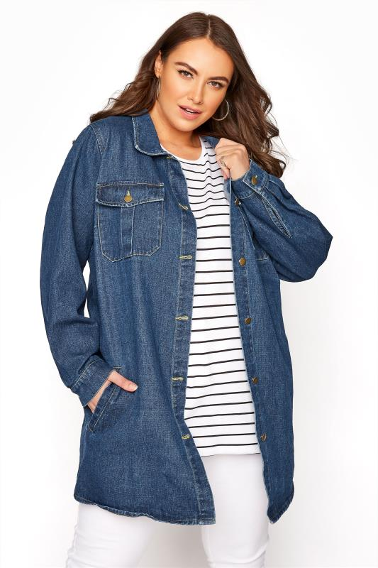 Grande Taille LIMITED COLLECTION Indigo Blue Longline Denim Jacket