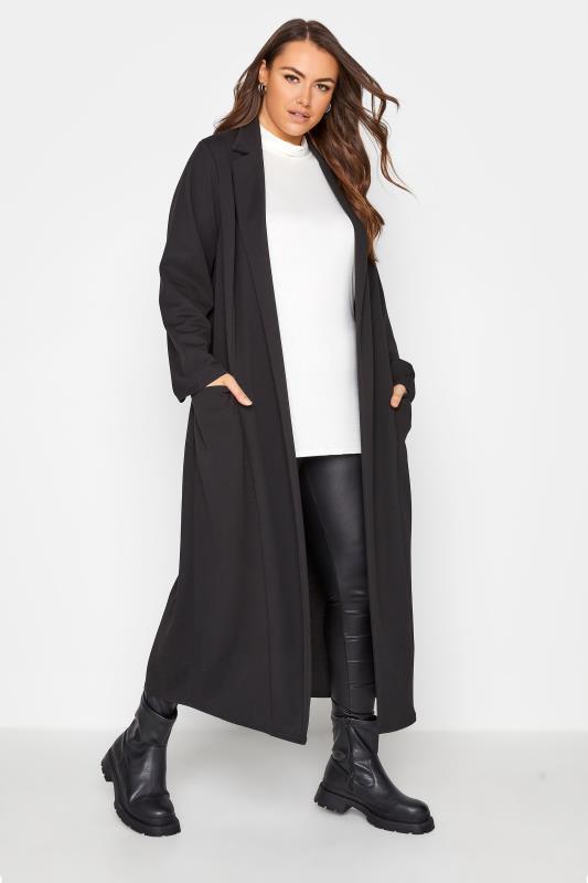 Großen Größen  Black Longline Maxi Blazer