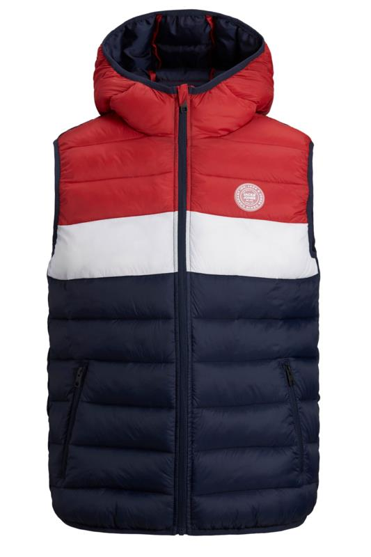 Plus Size Casual / Every Day JACK & JONES Red Colour Block Magic Padded Gilet