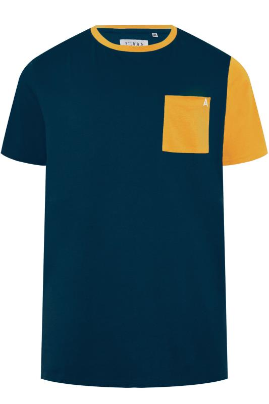 Plus Size T-Shirts STUDIO A Navy & Yellow Colour Block T-Shirt