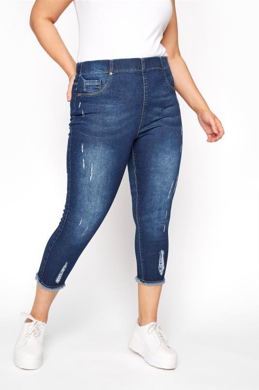 Cropped Jeans dla puszystych Indigo Distressed Cat Scratch JENNY Cropped Jeggings