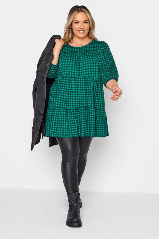 LIMITED COLLECTION Green Check Balloon Sleeve Top_B.jpg