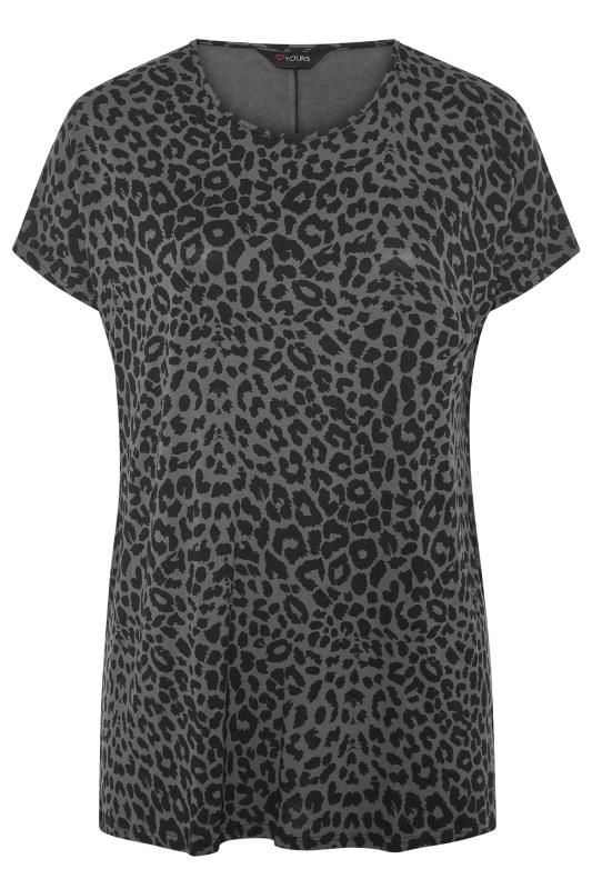 Grey Leopard Print Dipped Hem T-Shirt