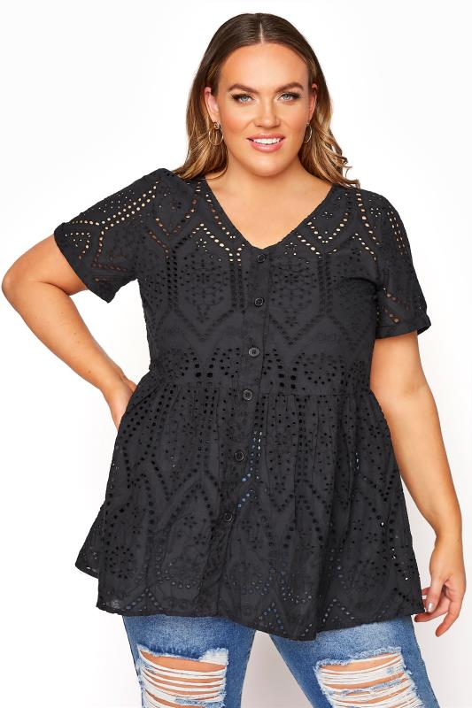 Black Broderie Anglaise Lace Peplum Top