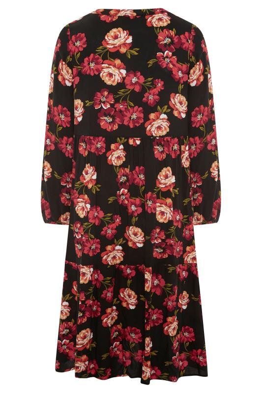 THE LIMITED EDIT Black Floral Smock Tiered Shirt Dress_BK.jpg