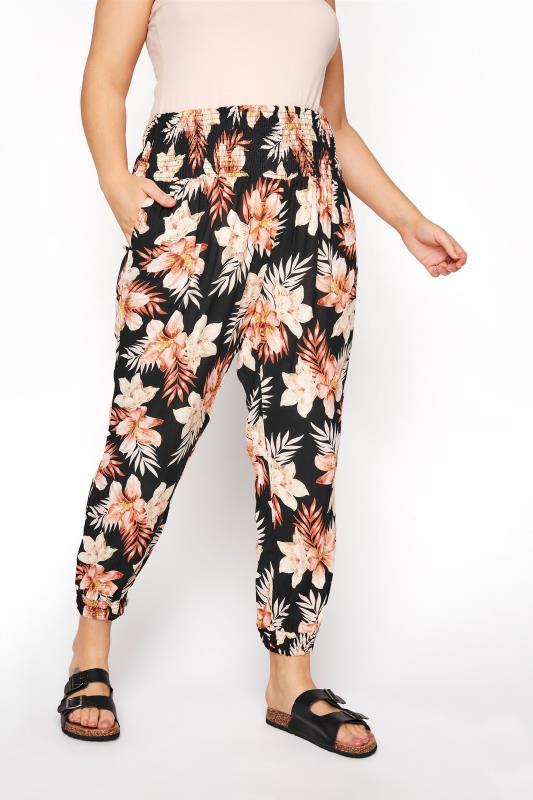 Black Floral Shirred Harem Trousers