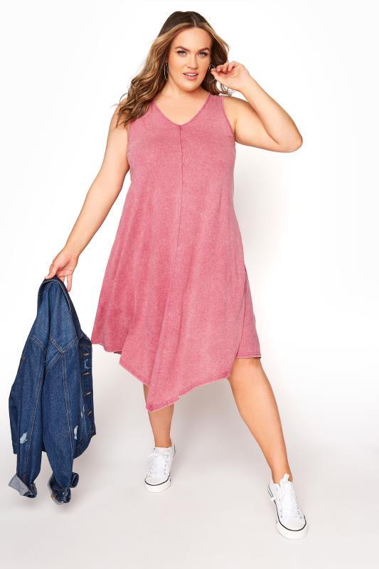 Pink Acid Wash Hanky Hem Sleeveless Dress_B.jpg