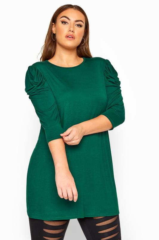 Plus Size Basic T-Shirts & Vests LIMITED COLLECTION Bottle Green Puff Shoulder Jersey Top