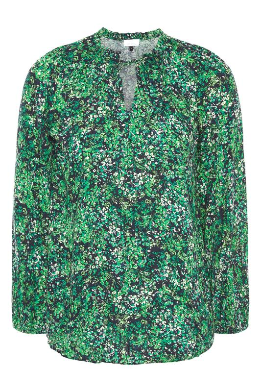 YOURS LONDON Green Floral Tie Frill Neck Blouse_F.jpg