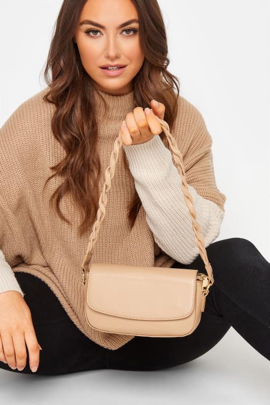 Beige Twisted Strap Shoulder Bag