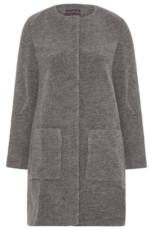 Grey Wool Collarless Coat