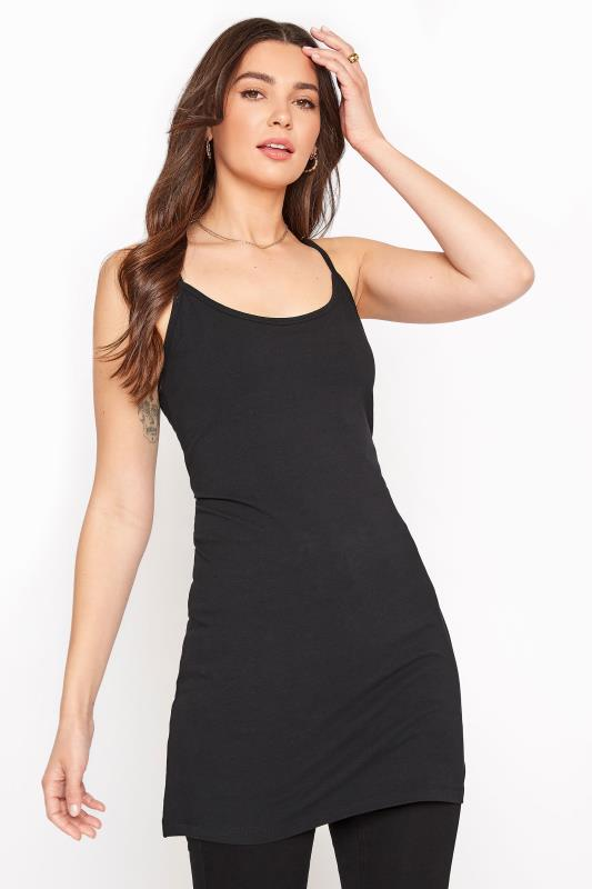 Tall  Black Cotton Longline Cami Vest Top