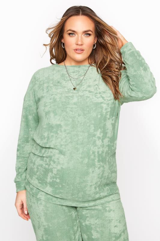 Plus Size  BUMP IT UP MATERNITY Sage Green Flannel Towelling Co-ord Lounge Sweatshirt