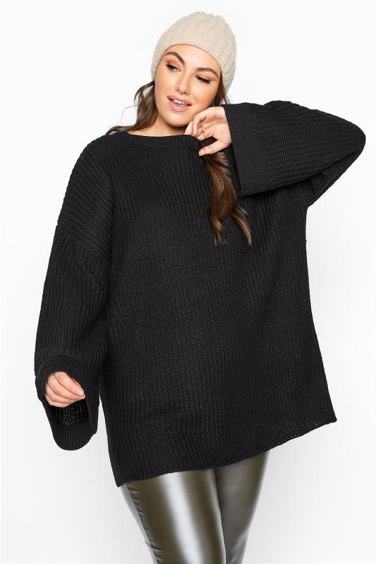 Plus Size  Black Wide Sleeve Chunky Knitted Jumper