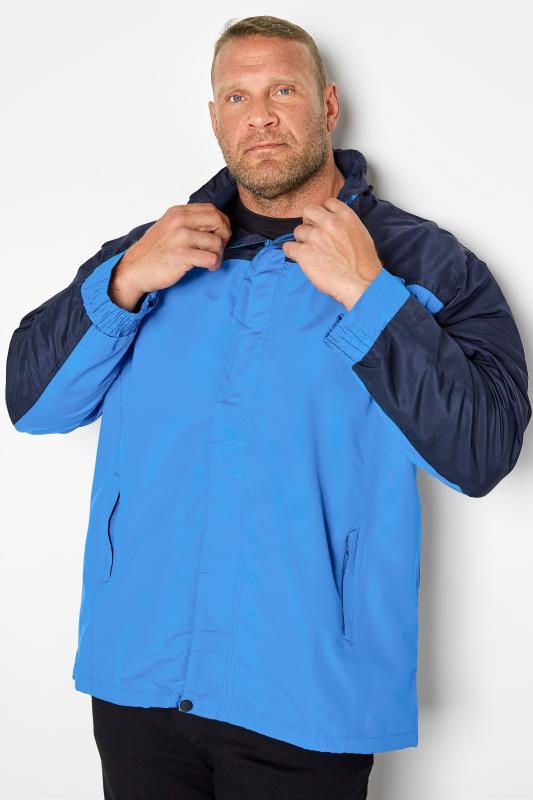 Plus Size Coats KAM Blue Colour Block Waterproof Jacket