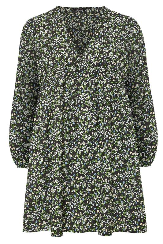 LIMITED COLLECTION Black & Green Ditsy Tea Dress_F.jpg
