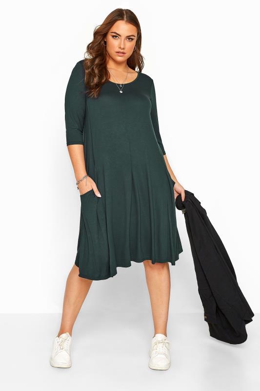 Forest Green Drape Pocket Dress