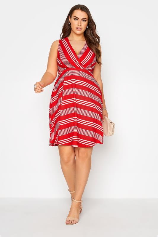 Red Stripe Wrap Skater Dress_B.jpg