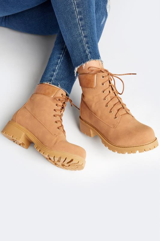Plus Size  Tan Chunky Lace Up Boots In Extra Wide Fit