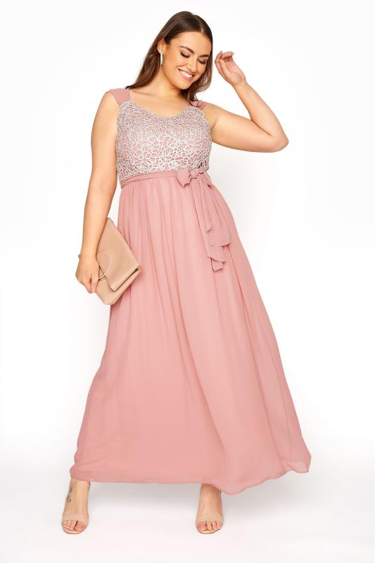 Plus Size  Pink Sleeveless Crochet Overlay Maxi Dress