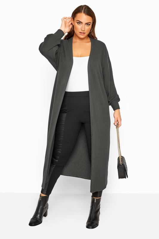 Plus Size Cardigans LIMITED COLLECTION Charcoal Grey Balloon Sleeve Brushed Midi Cardigan