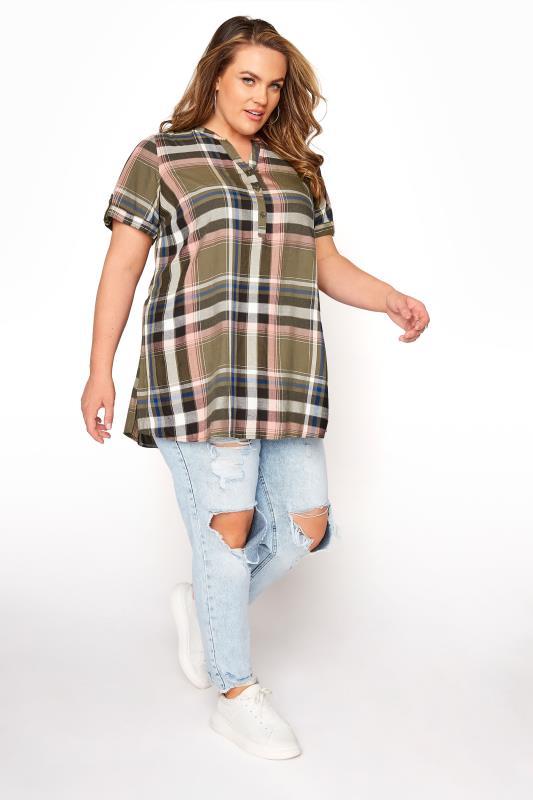 Khaki Grown On Sleeve Check Shirt_B.jpg