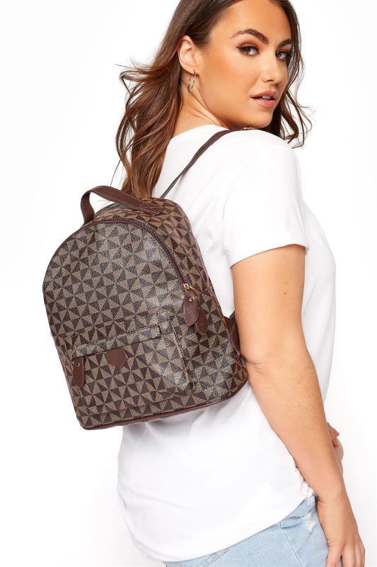 Brown Geometric Print Backpack