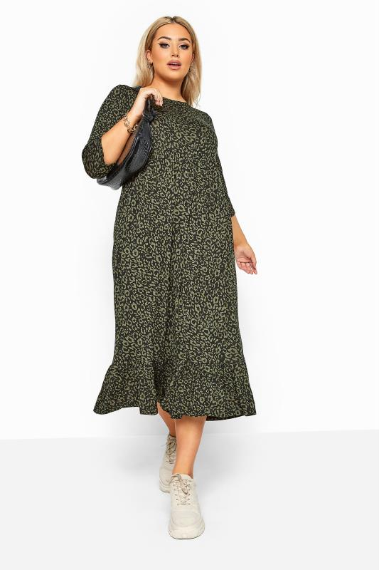 LIMITED COLLECTION Khaki Leopard Print Midi Smock Dress