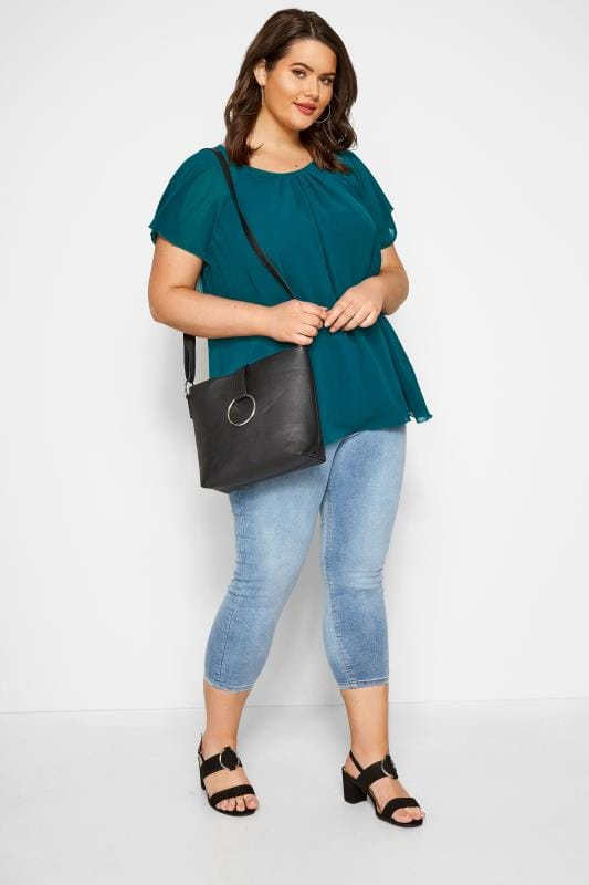 SIZE UP Teal Chiffon Angel Sleeve Top