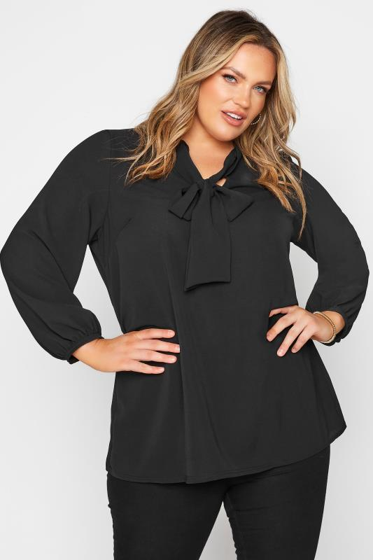 YOURS LONDON Black Bow Blouse_A.jpg
