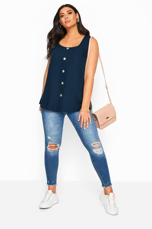Navy Button Front Vest Top