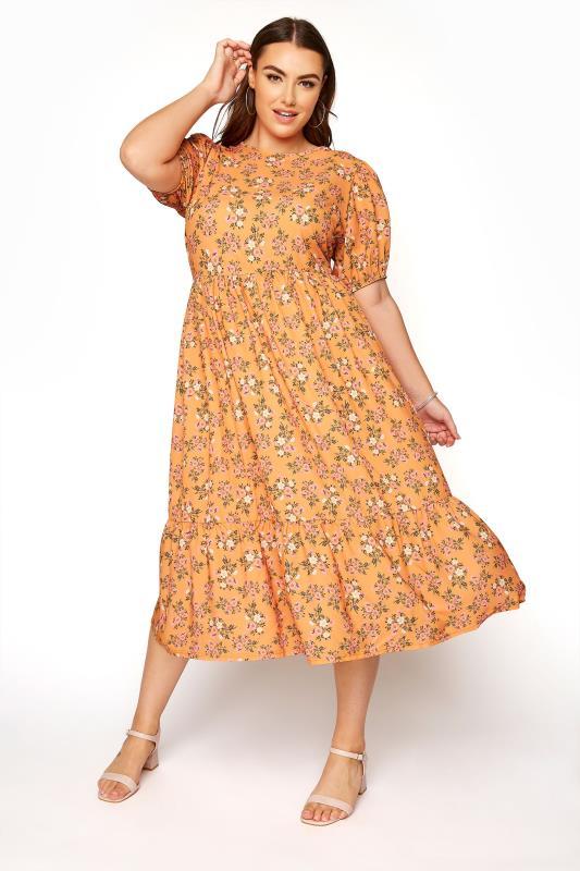 Plus Size  YOURS LONDON Orange Ditsy Floral Smock Dress
