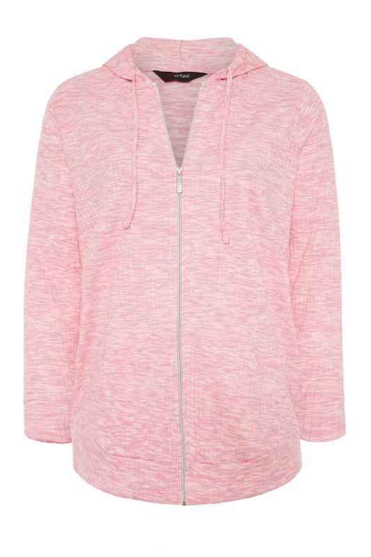 Pink Marl Ribbed Zip Through Hoodie_F.jpg