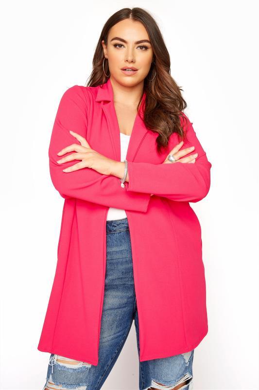 Großen Größen  Hot Pink Longline Blazer