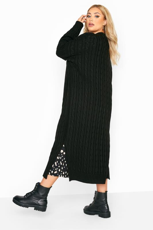 Plus Size  Black Cable Knit Longline Cardigan
