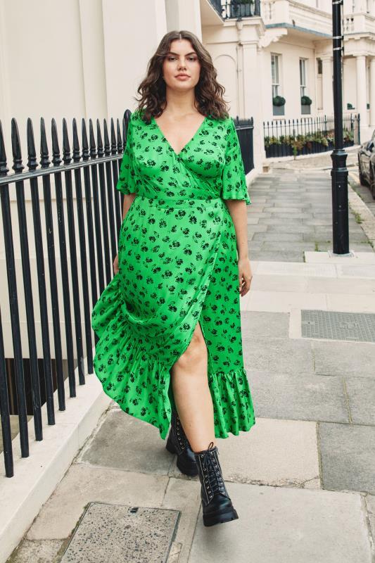 THE LIMITED EDIT Green Floral Ruffled Wrap Maxi Dress_L3.jpg