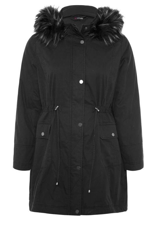 Black Faux Fur Trim Hooded Parka_F.jpg